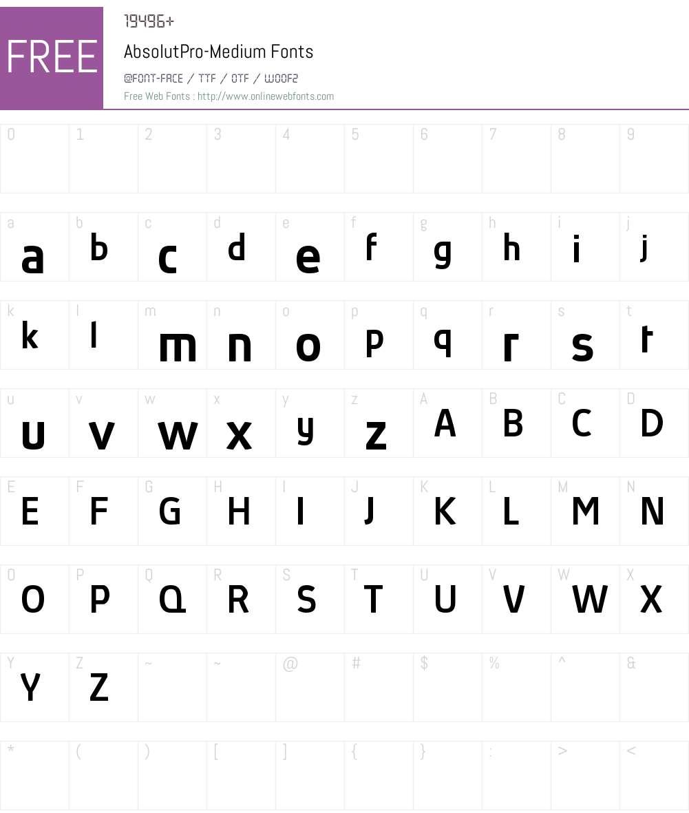 Absolut Pro reduced Font Screenshots