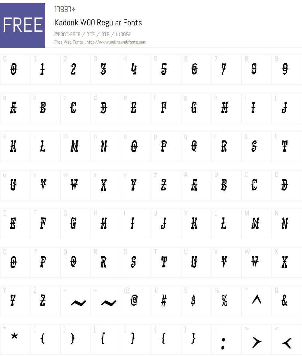 KadonkW00-Regular Font Screenshots