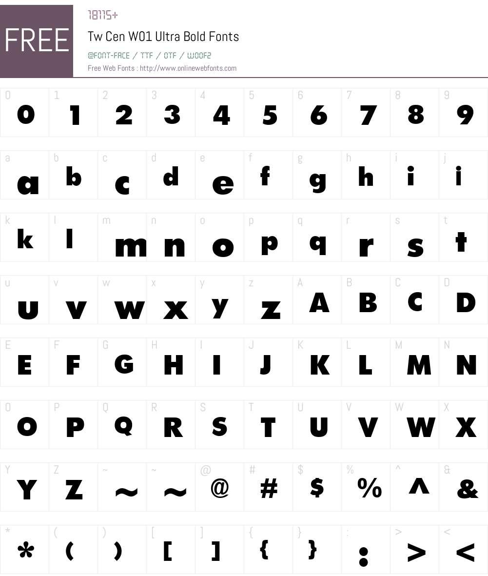 TwCenW01-UltraBold Font Screenshots