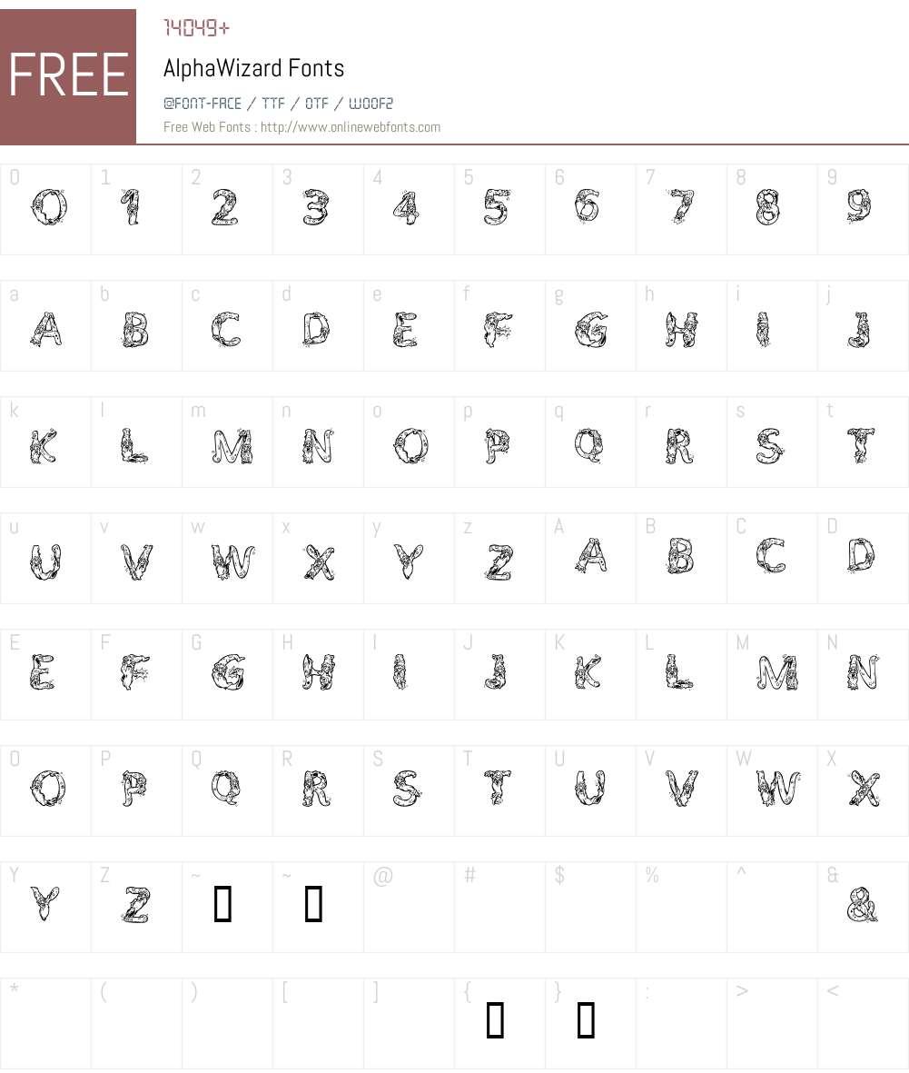 AlphaWizard Font Screenshots