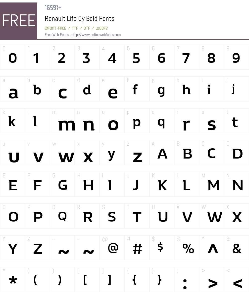 Renault Life Cy Font Screenshots