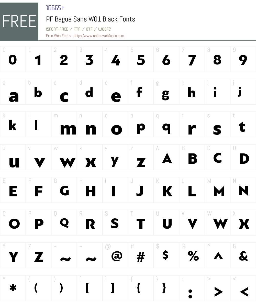 PFBagueSansW01-Black Font Screenshots