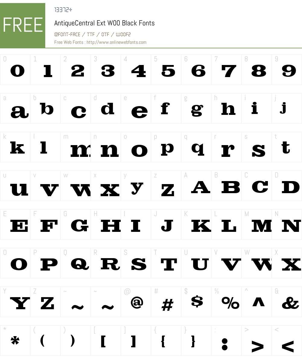 AntiqueCentralExtW00-Black Font Screenshots