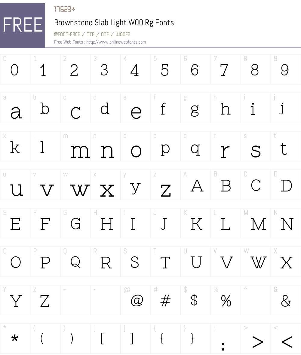 BrownstoneSlabLightW00-Rg Font Screenshots