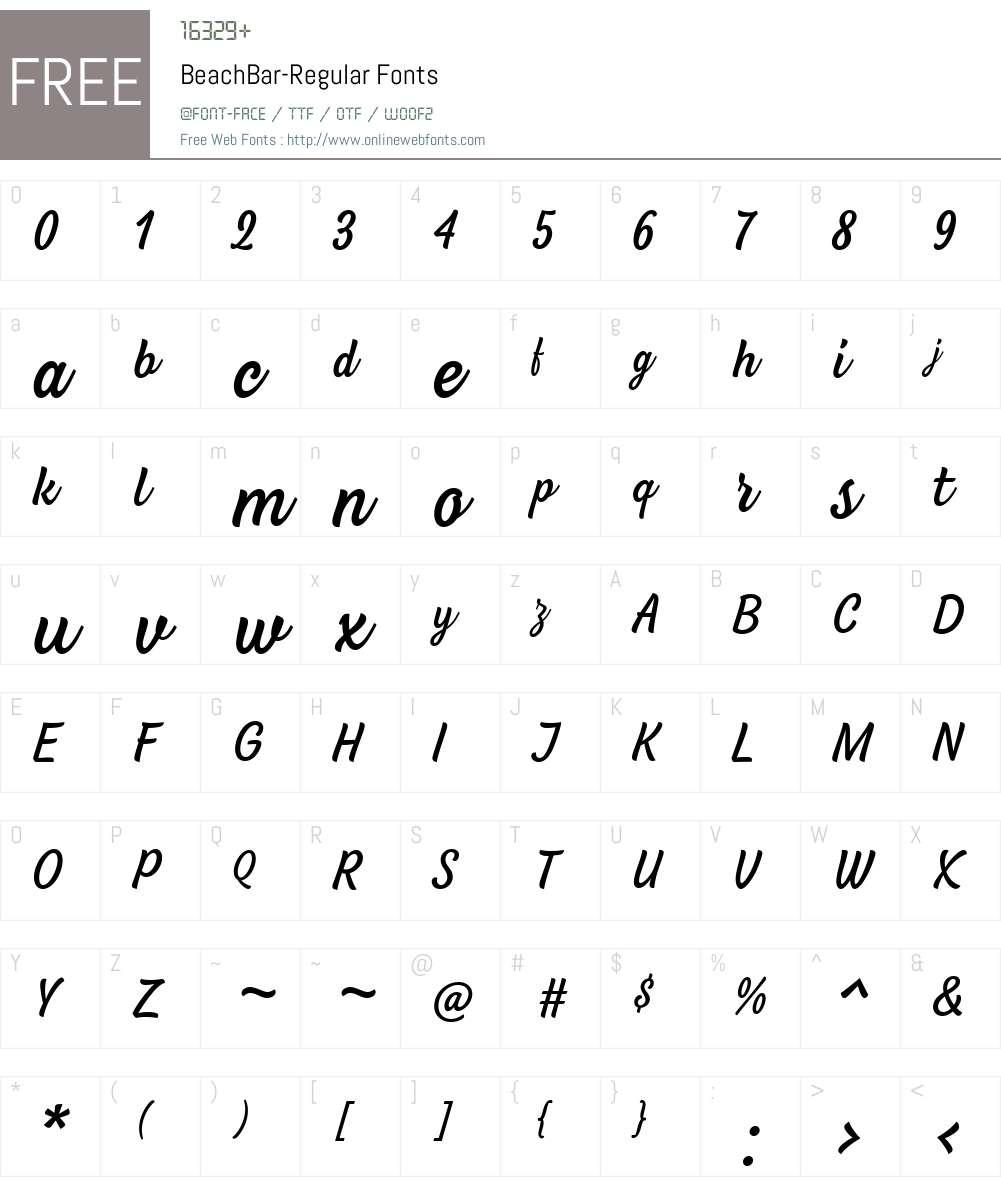BeachBar-Regular Font Screenshots