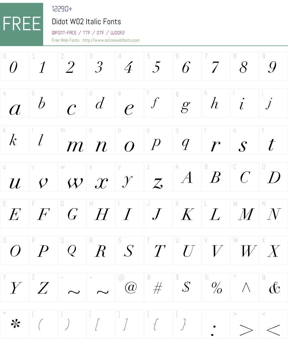 DidotW02-Italic Font Screenshots