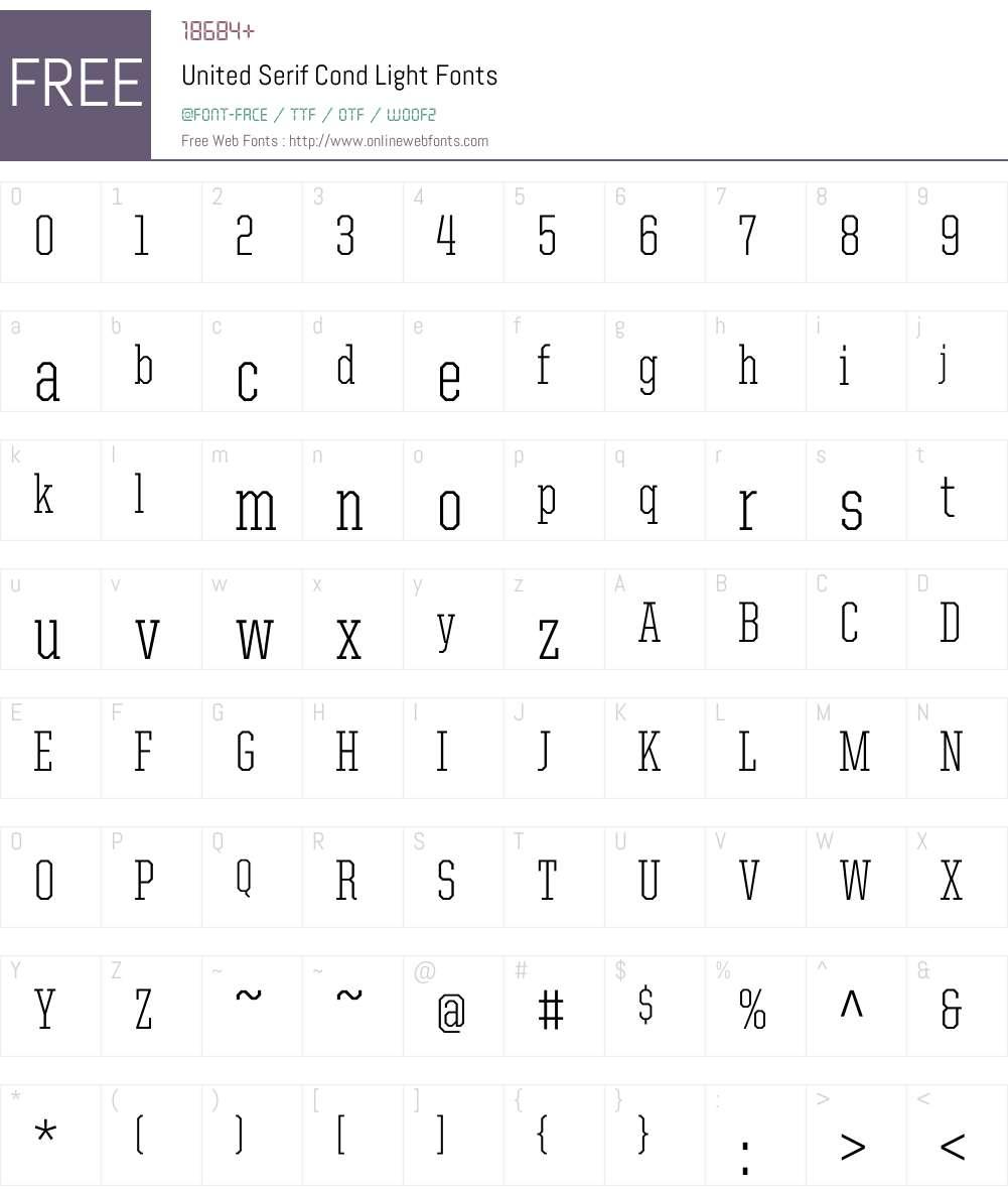 United Serif Cond Font Screenshots