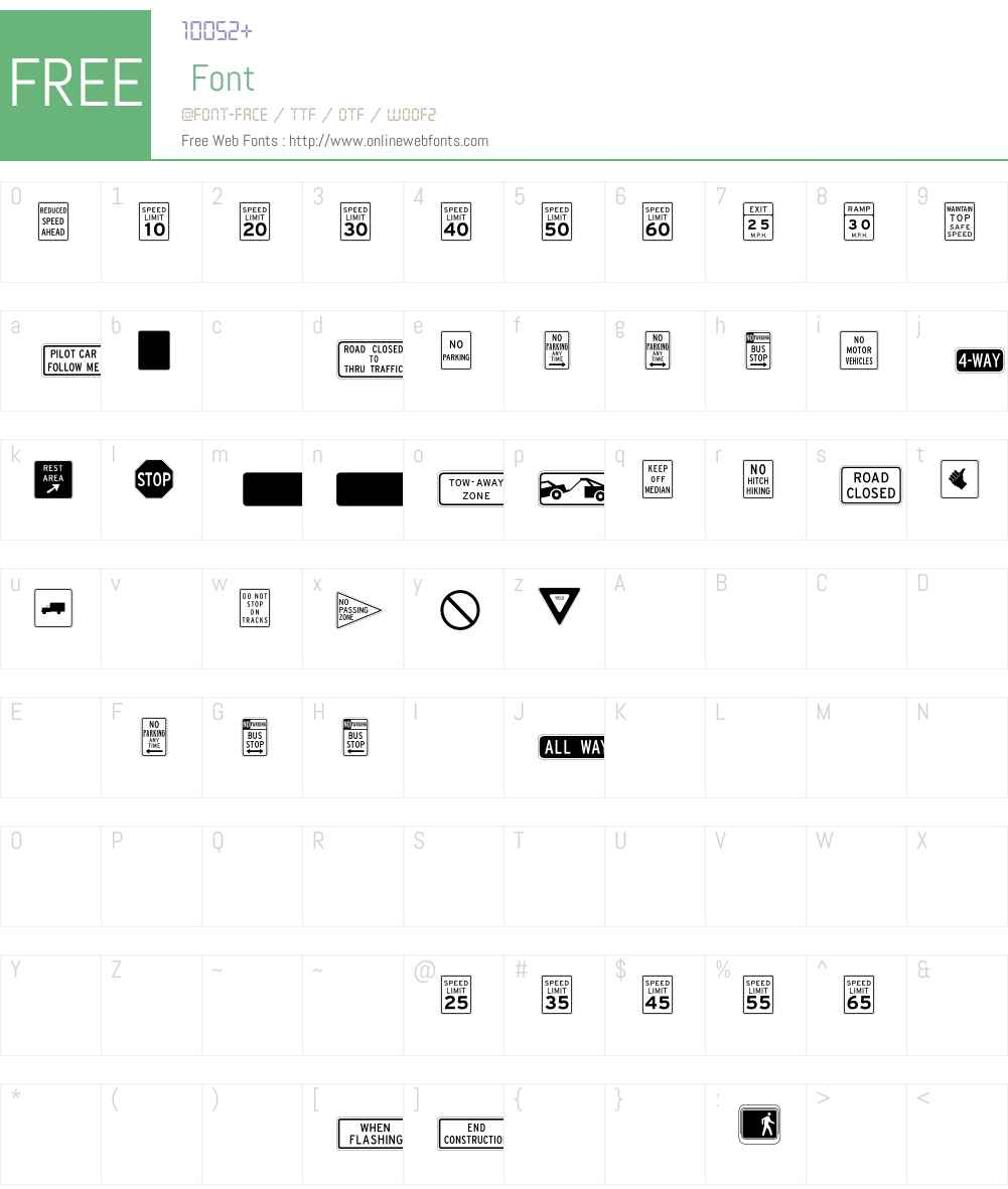 InterstatePi Font Screenshots
