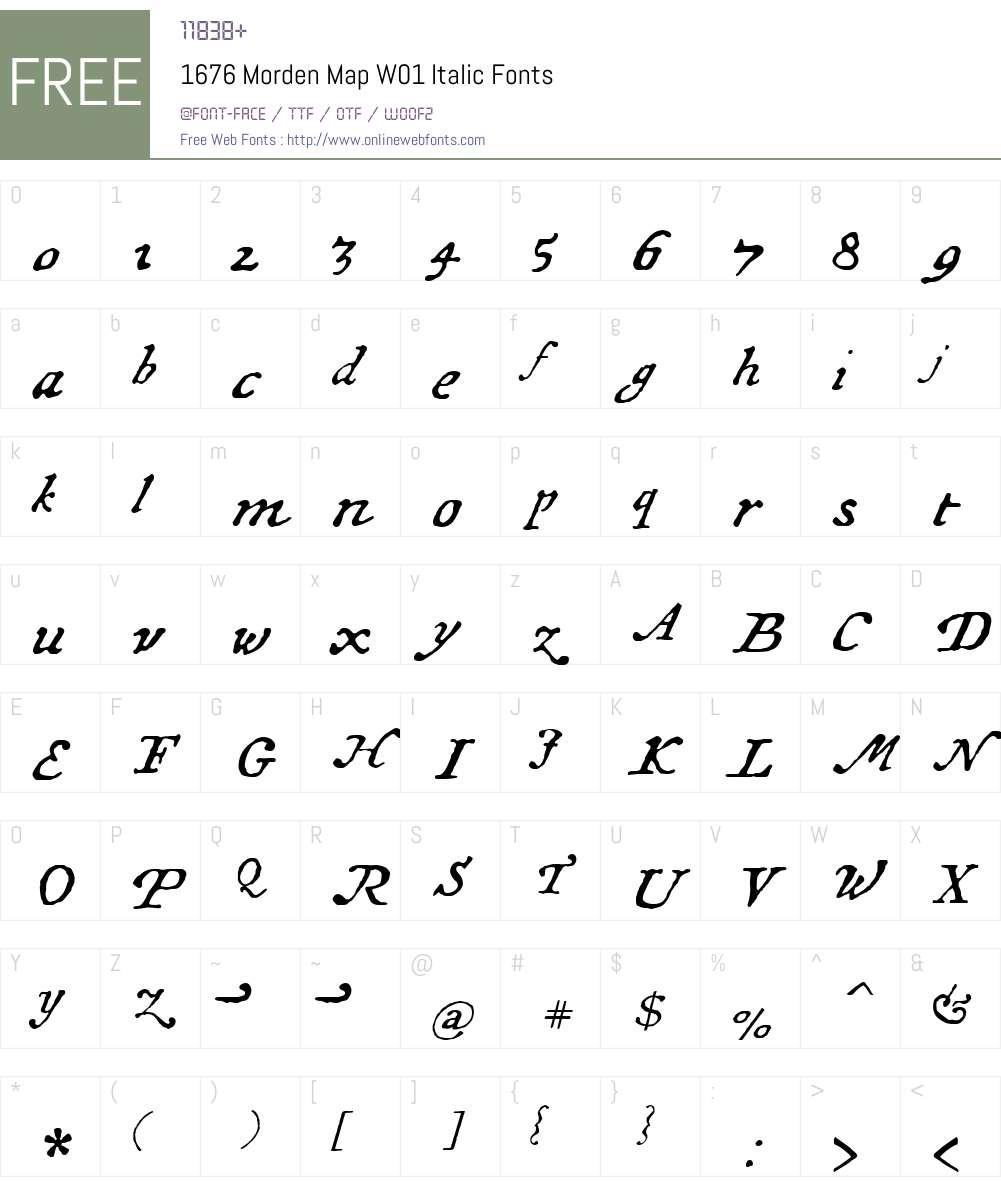 1676MordenMapW01-Italic Font Screenshots
