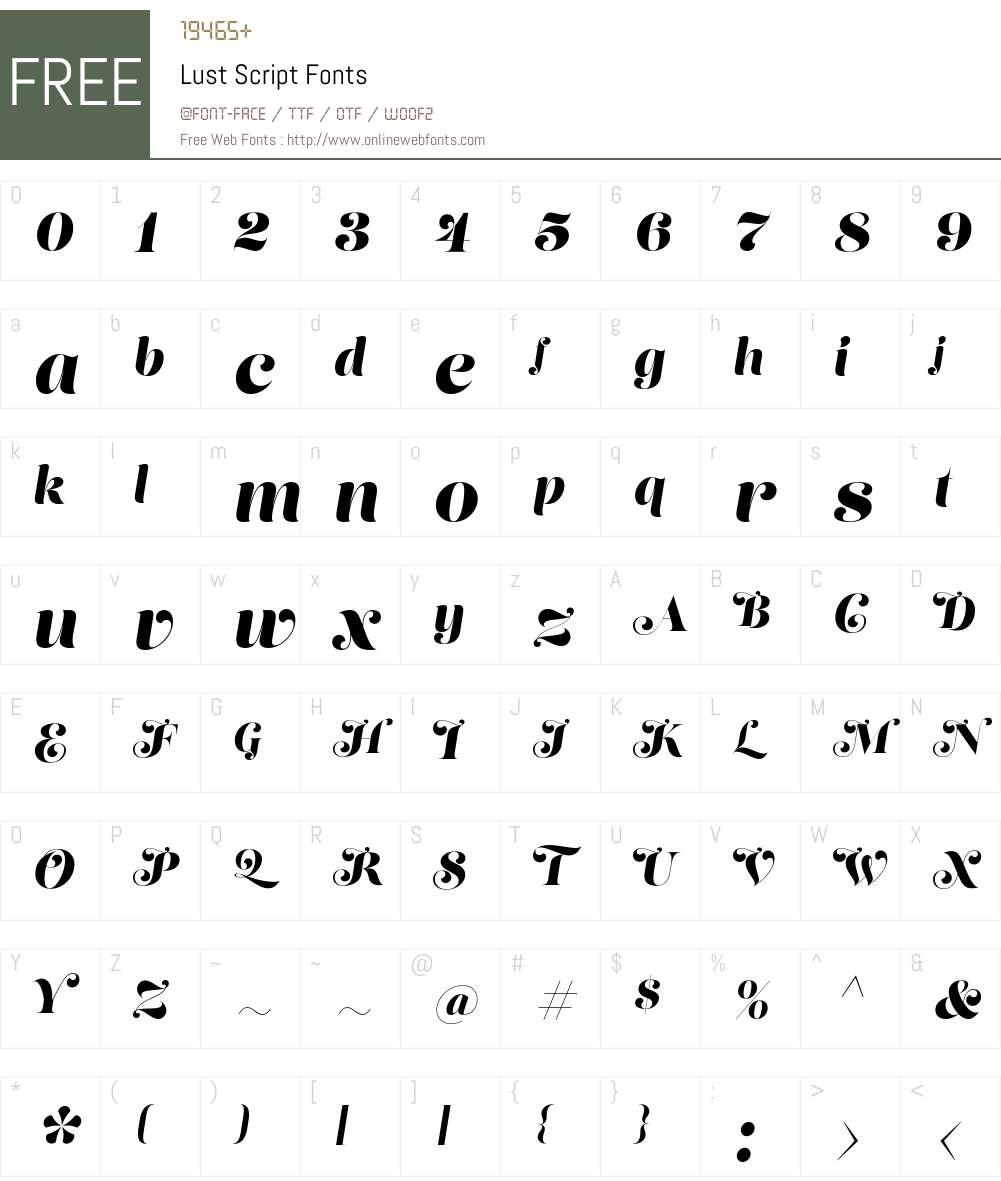 Lust Script Font Screenshots
