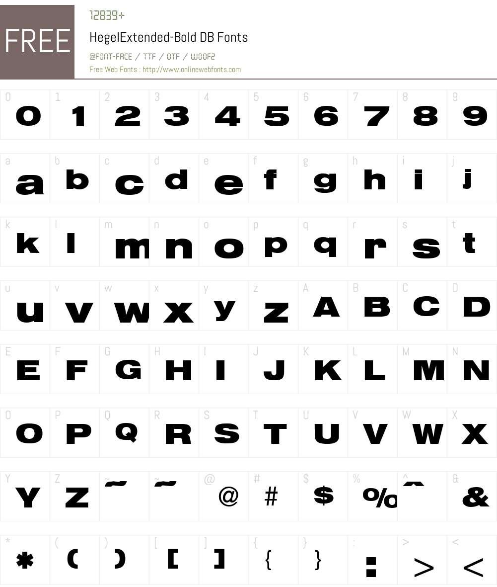 HegelExtended DB Font Screenshots