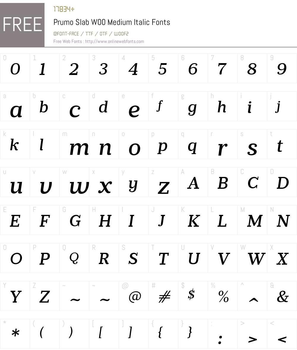 PrumoSlabW00-MediumItalic Font Screenshots