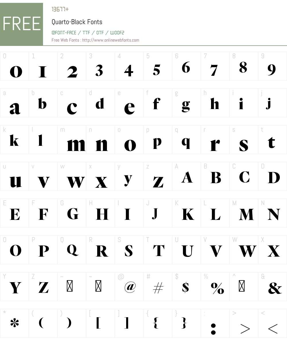 Quarto Black Font Screenshots