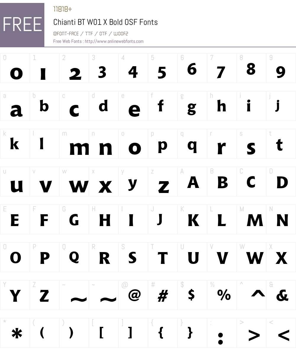 ChiantiBTW01-XBoldOSF Font Screenshots