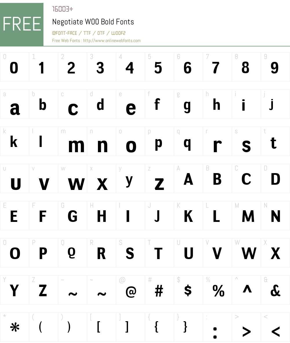 NegotiateW00-Bold Font Screenshots