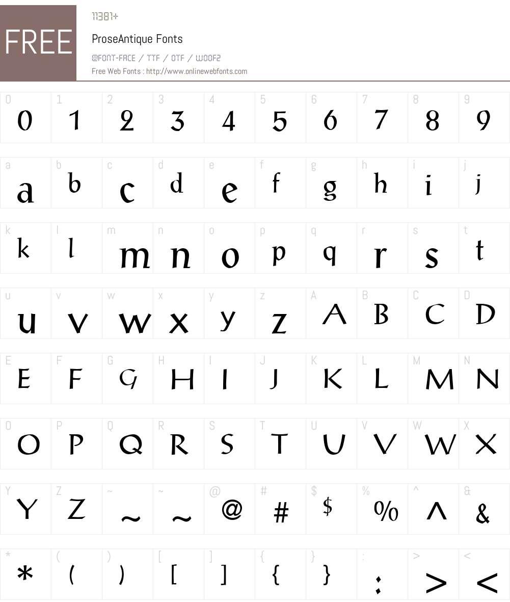 ProseAntique Font Screenshots