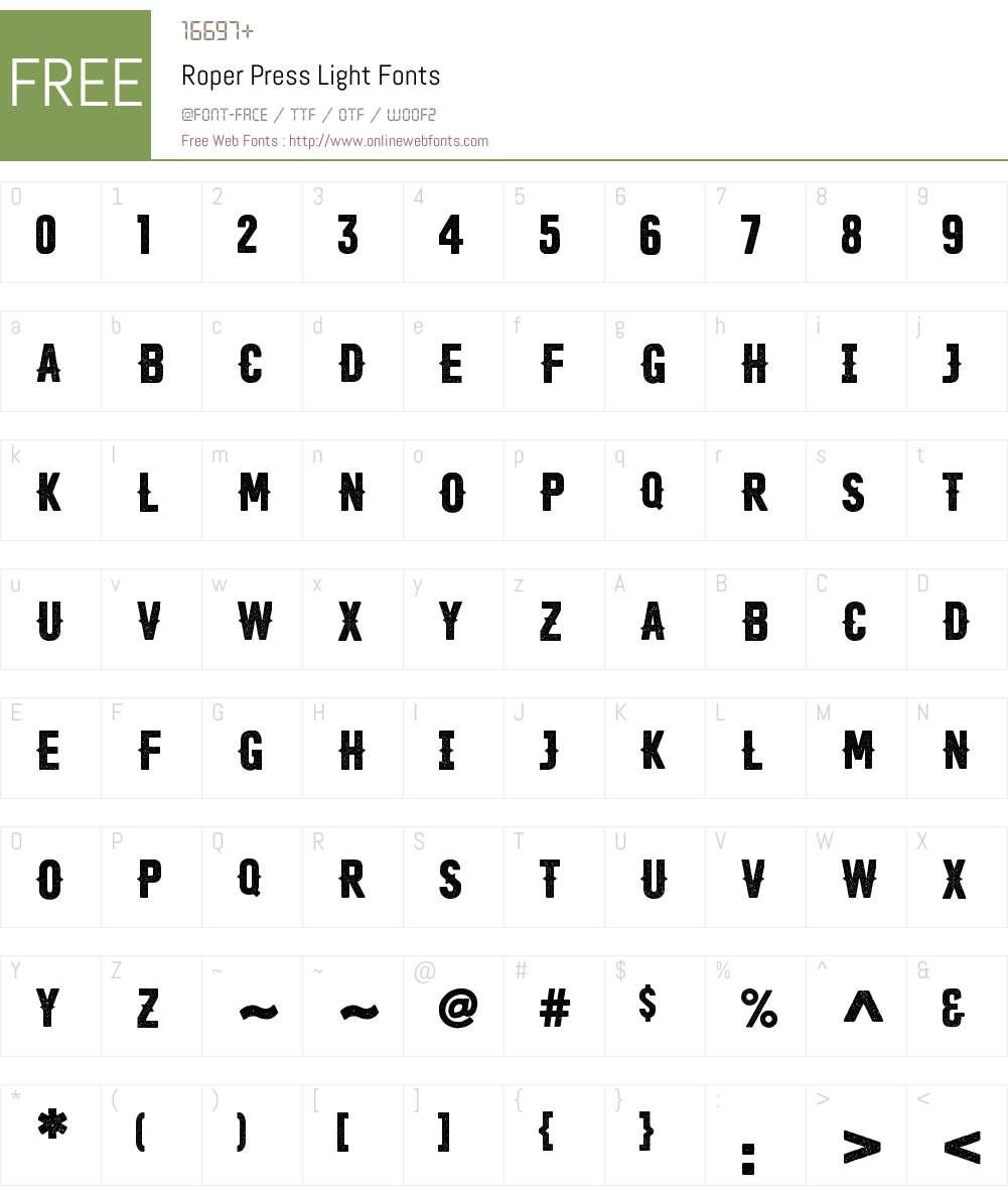 Roper-PressLight Font Screenshots