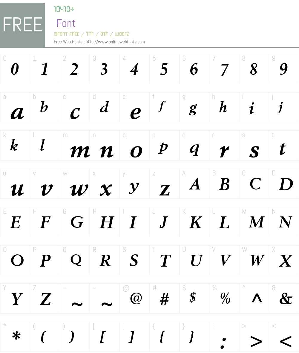 Berling Font Screenshots