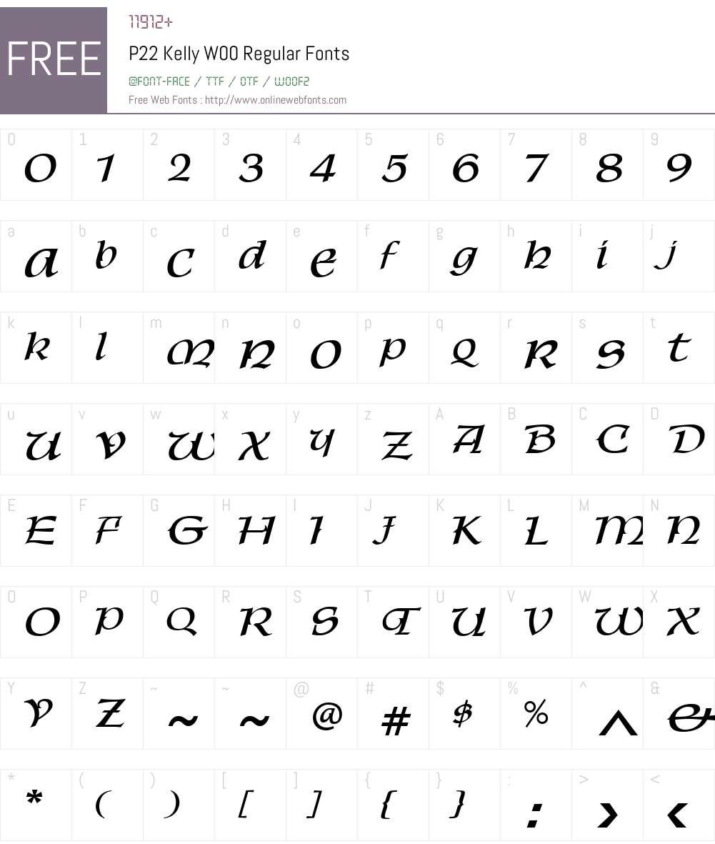 P22KellyW00-Regular Font Screenshots