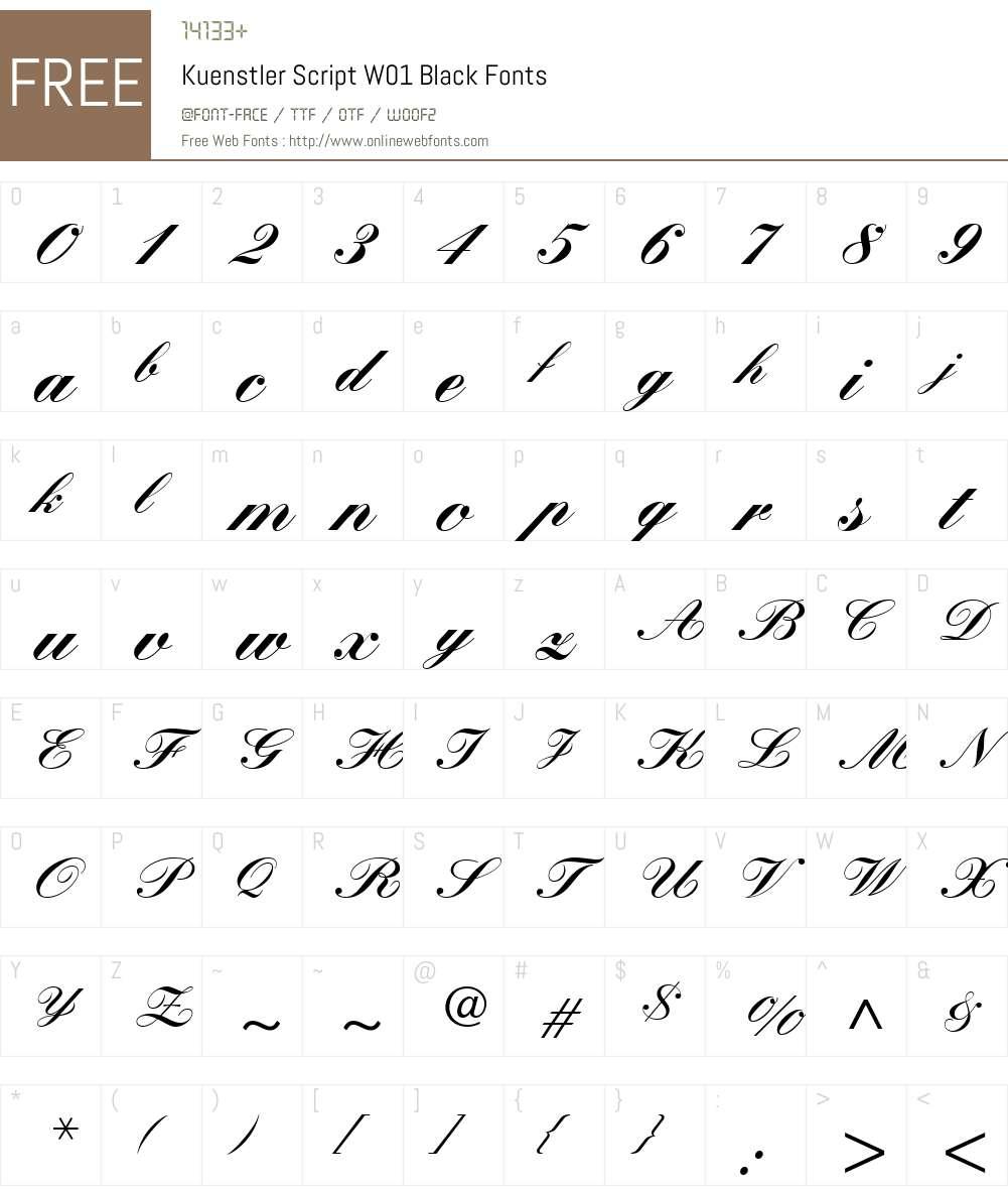 KuenstlerScriptW01-Black Font Screenshots