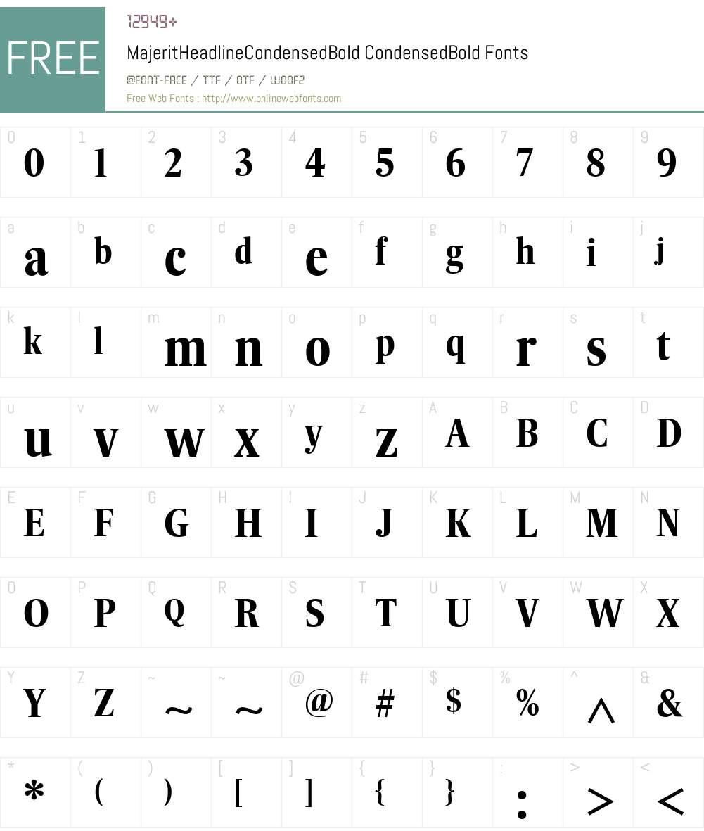 MajeritHeadlineCondensedBold Font Screenshots