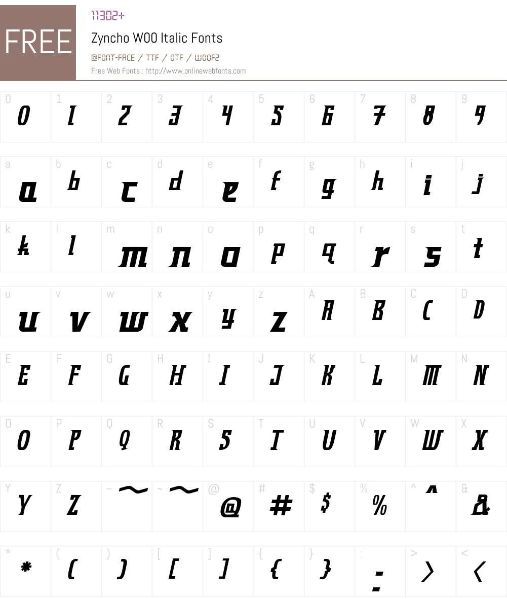 ZynchoW00-Italic Font Screenshots