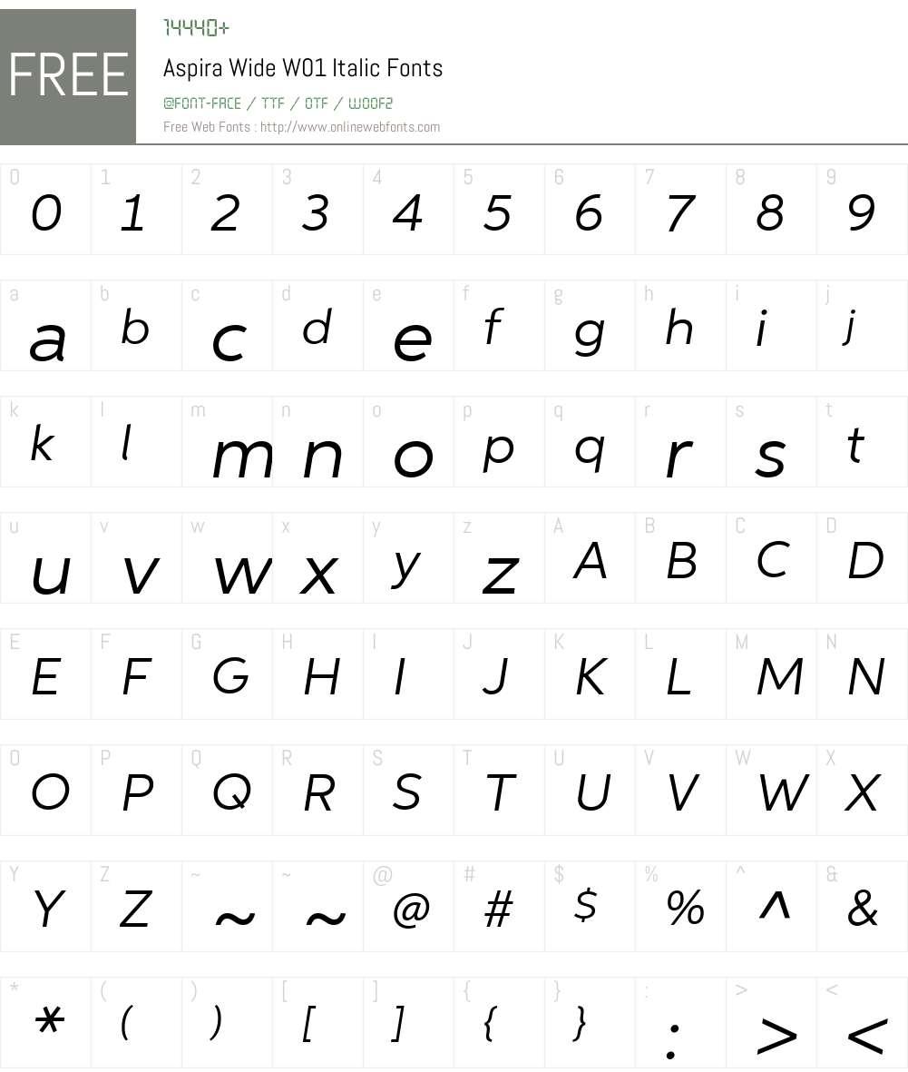 AspiraWideW01-Italic Font Screenshots
