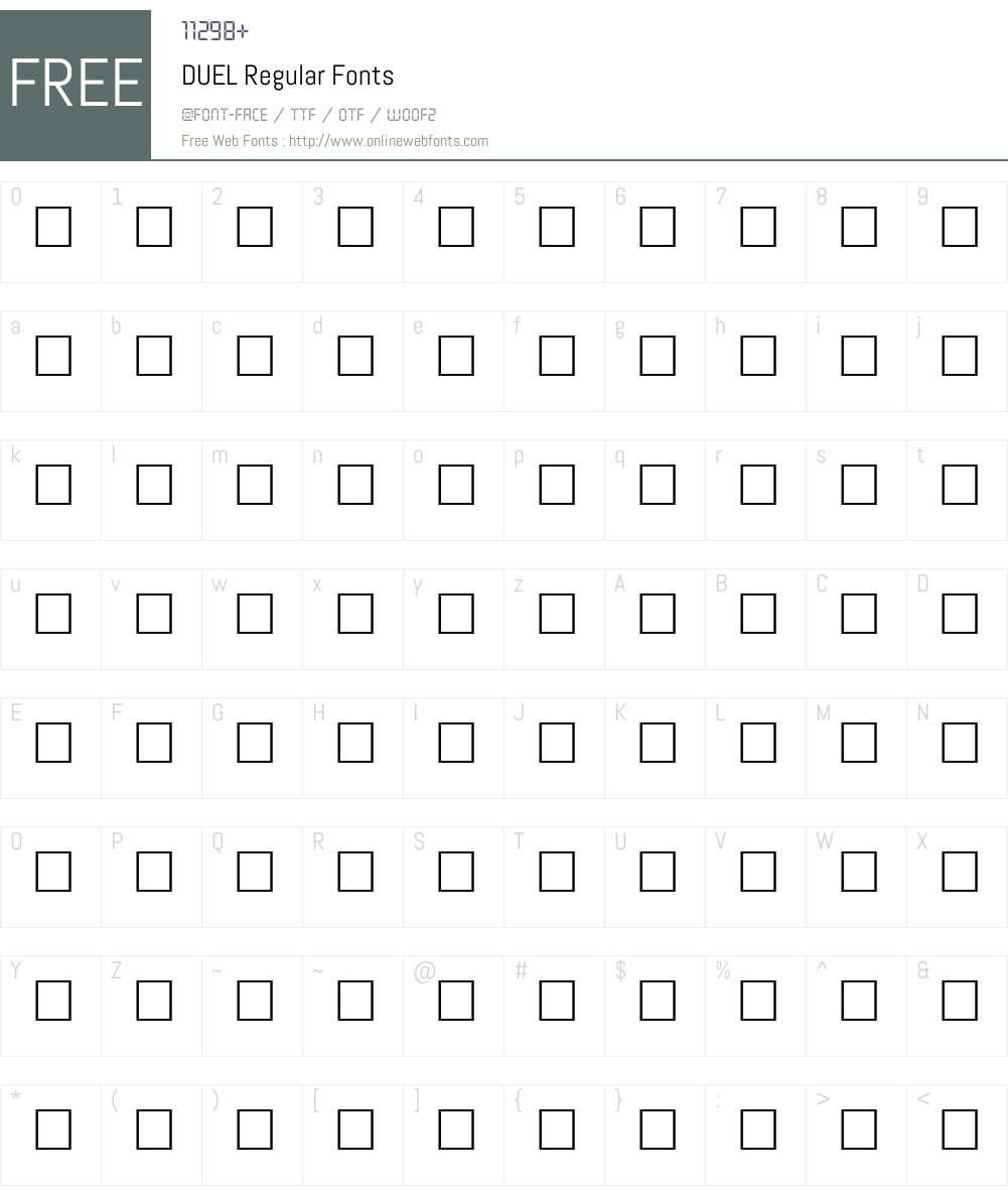 DUEL Font Screenshots