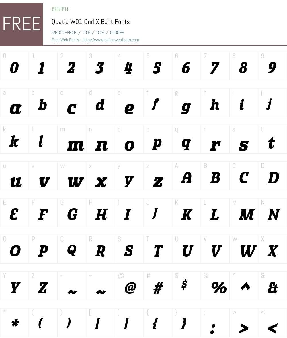 QuatieW01-CndXBdIt Font Screenshots