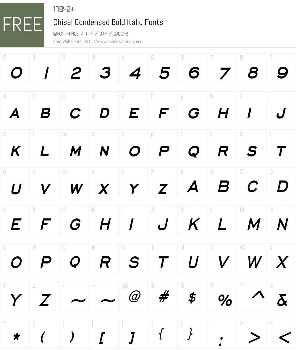 Chisel Condensed Font Screenshots