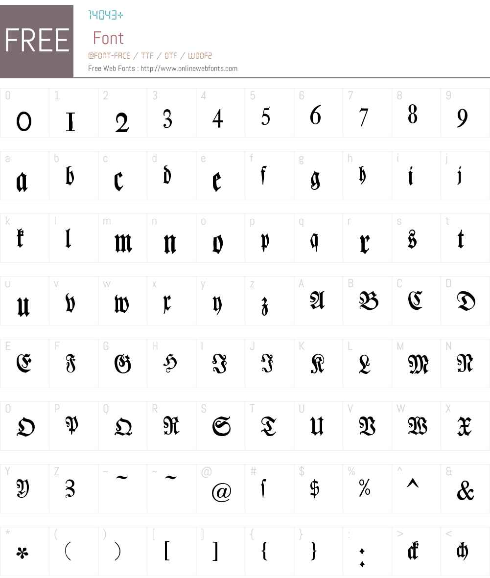 Chursaechsische Fraktur Font Screenshots