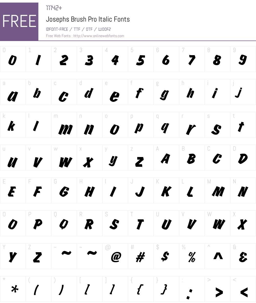 JosephsBrushPro-Italic Font Screenshots