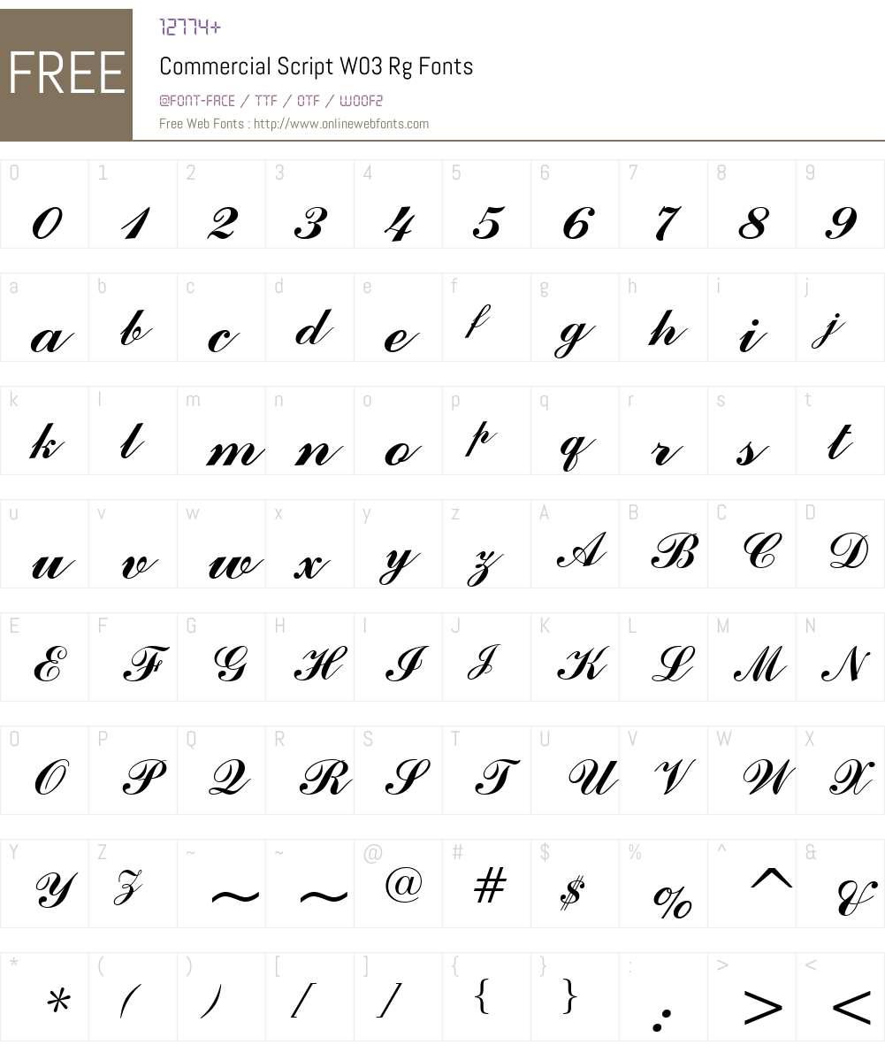 Commercial Script Font Screenshots