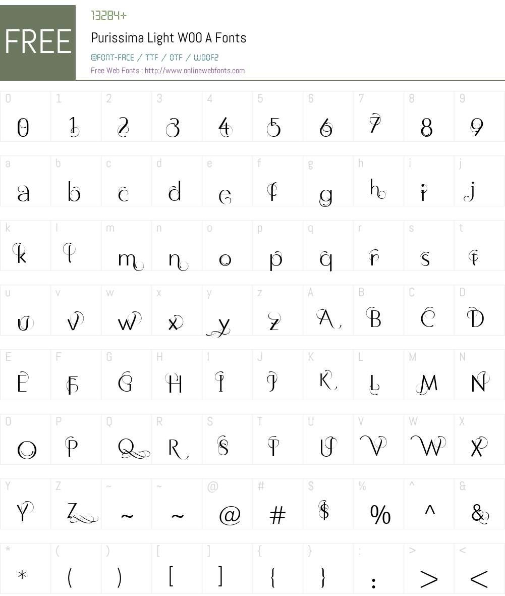 PurissimaLightW00-A Font Screenshots