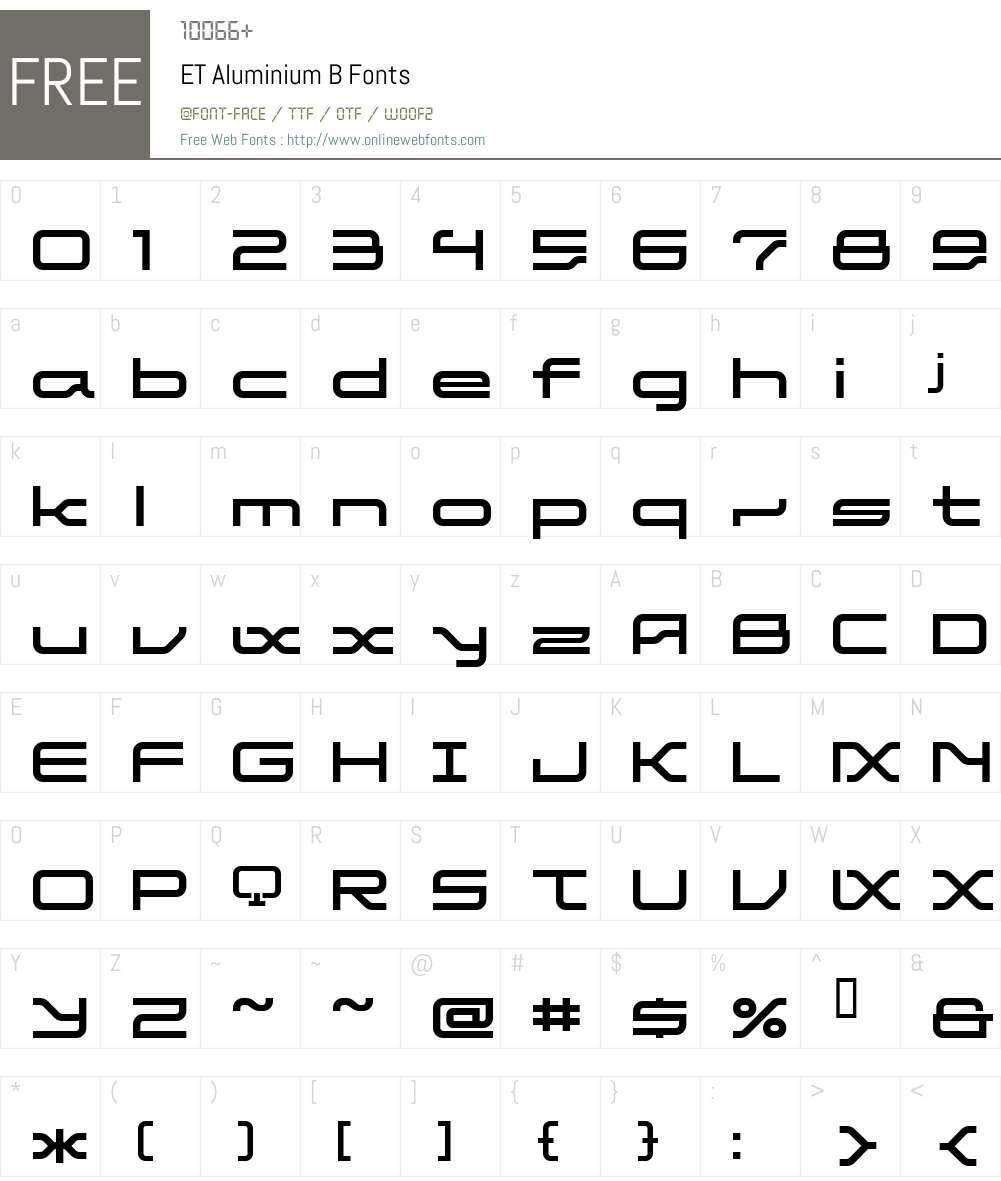 ET Aluminium B Font Screenshots