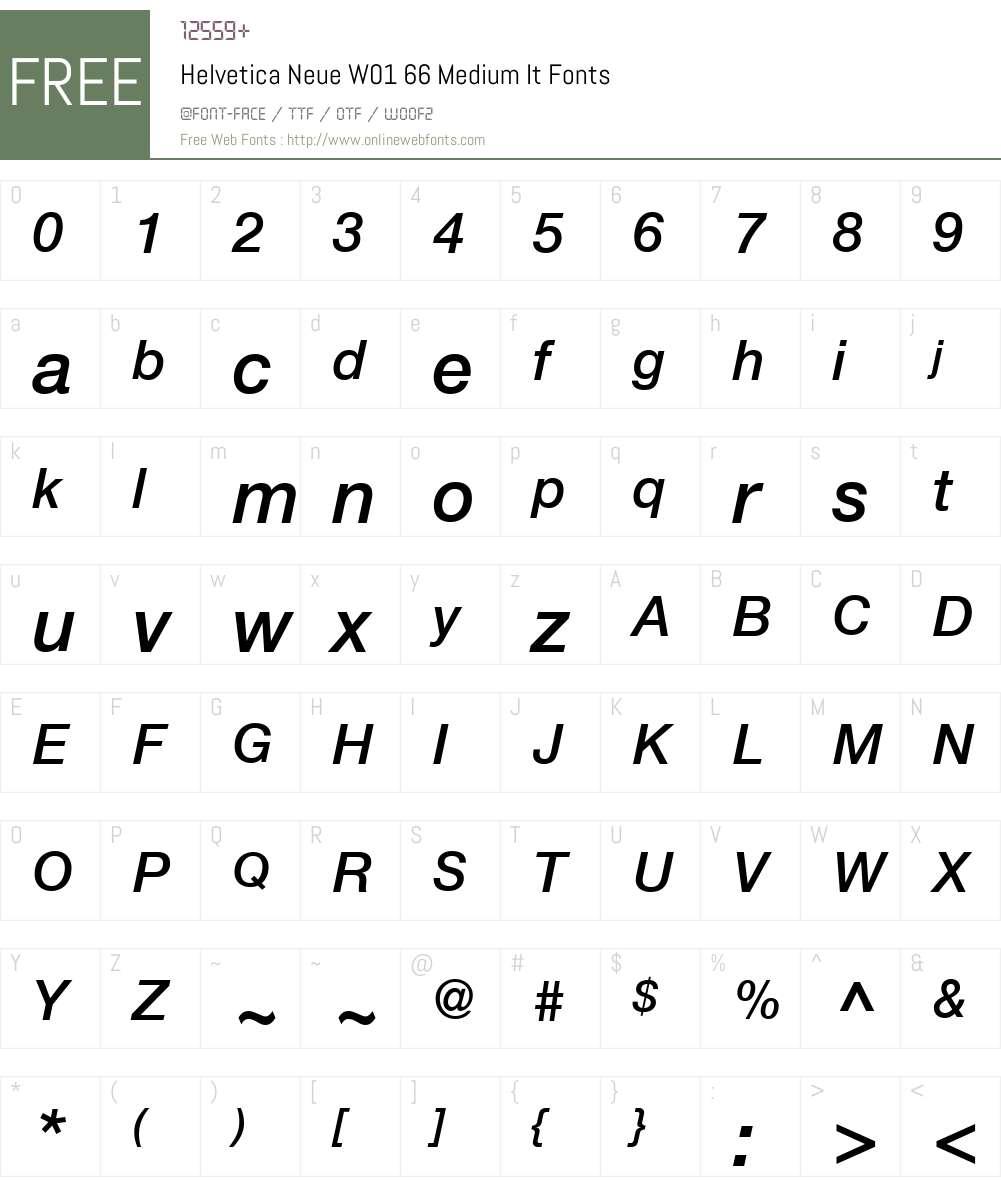 HelveticaNeueW01-66MediumIt Font Screenshots