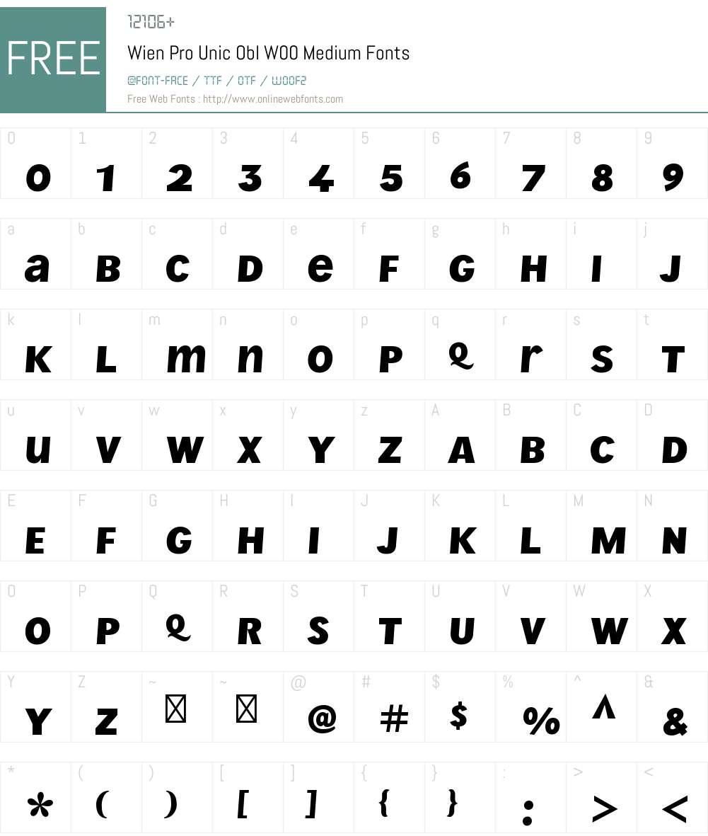 WienProUnicOblW00-Medium Font Screenshots