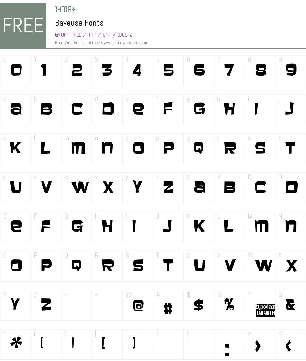 Baveuse Font Screenshots