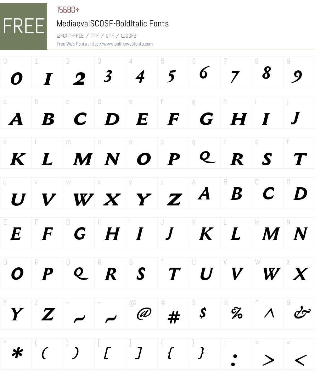MediaevalSCOSF Font Screenshots