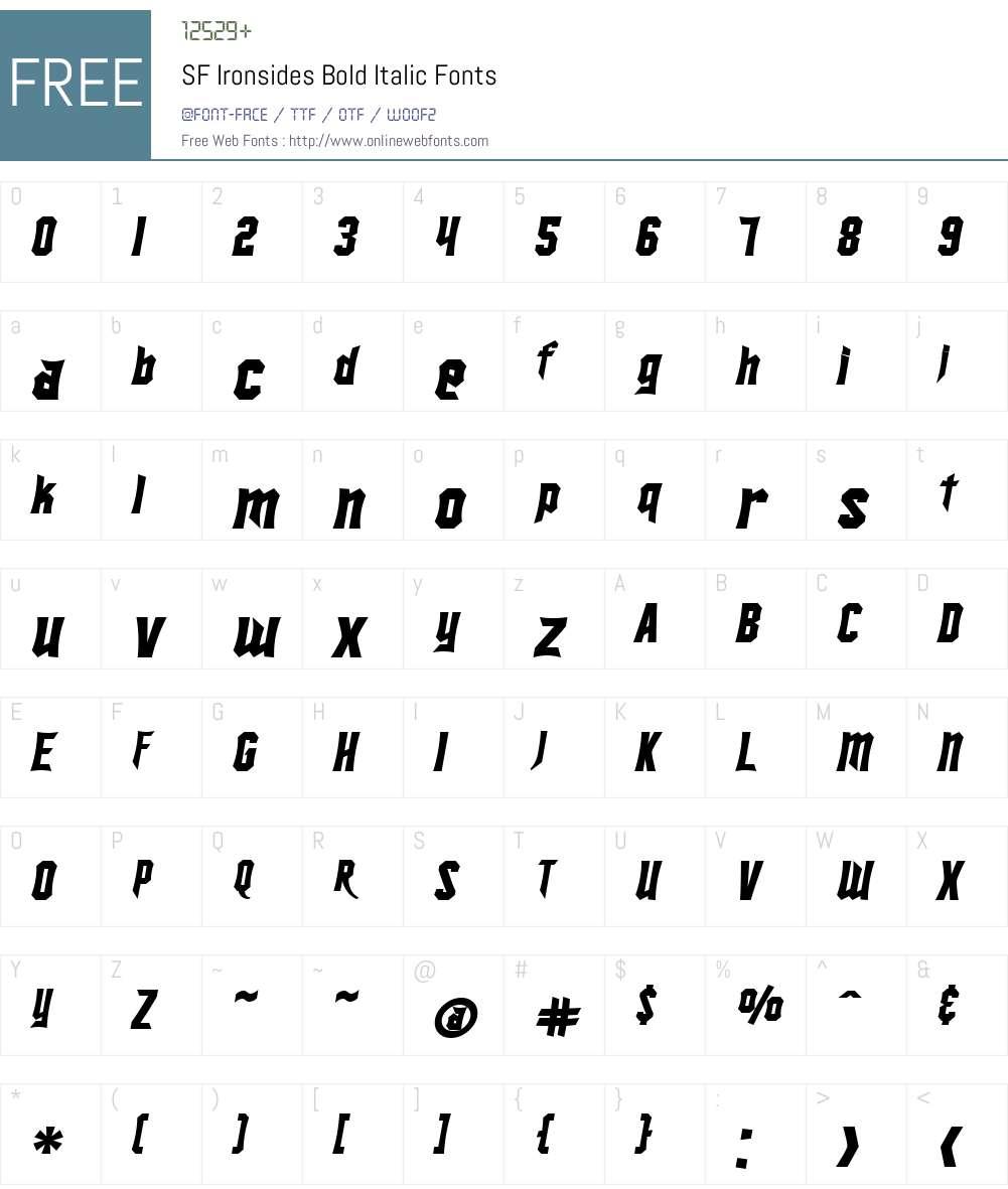 SF Ironsides Font Screenshots