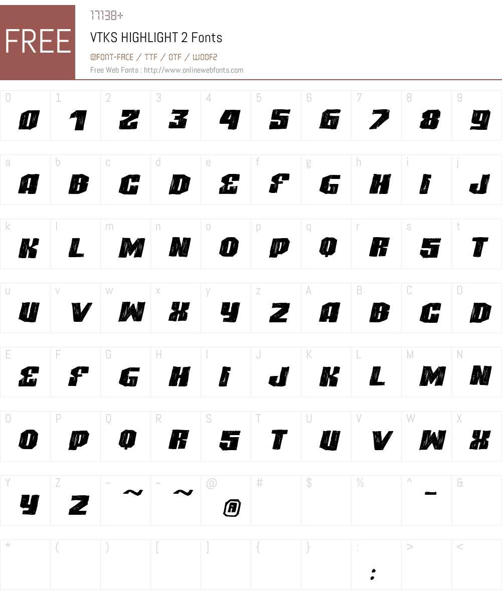 VTKS HIGHLIGHT 2 Font Screenshots