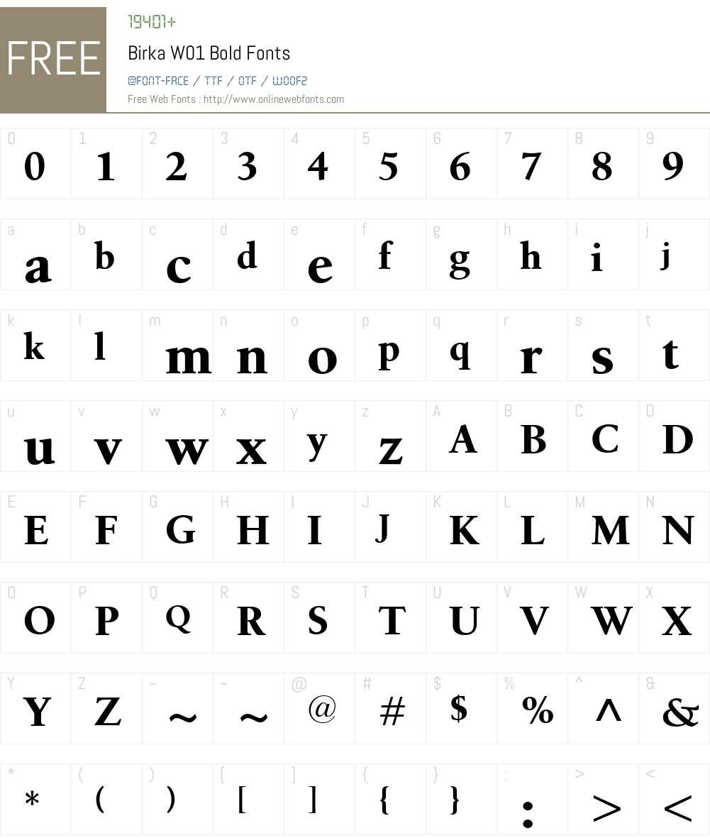 BirkaW01-Bold Font Screenshots