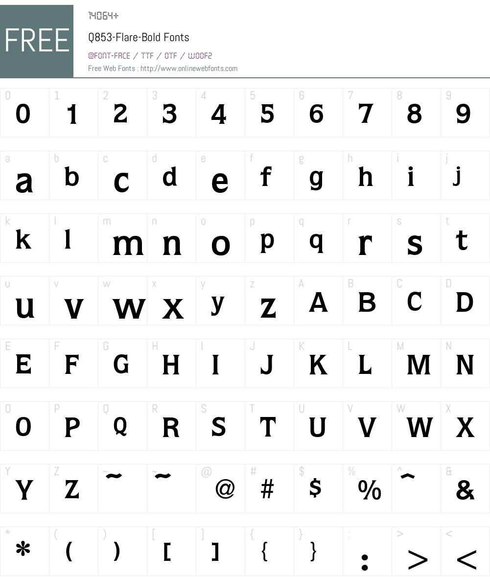 Q853-Flare Font Screenshots