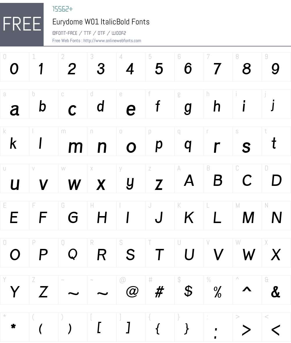 EurydomeW01-ItalicBold Font Screenshots