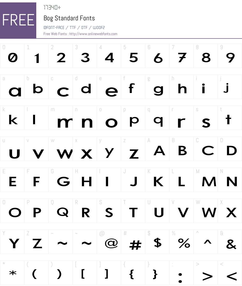 Bog Standard Font Screenshots