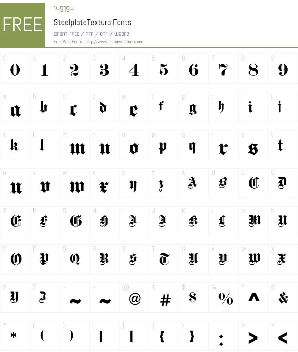 Steelplate Textura Font Screenshots