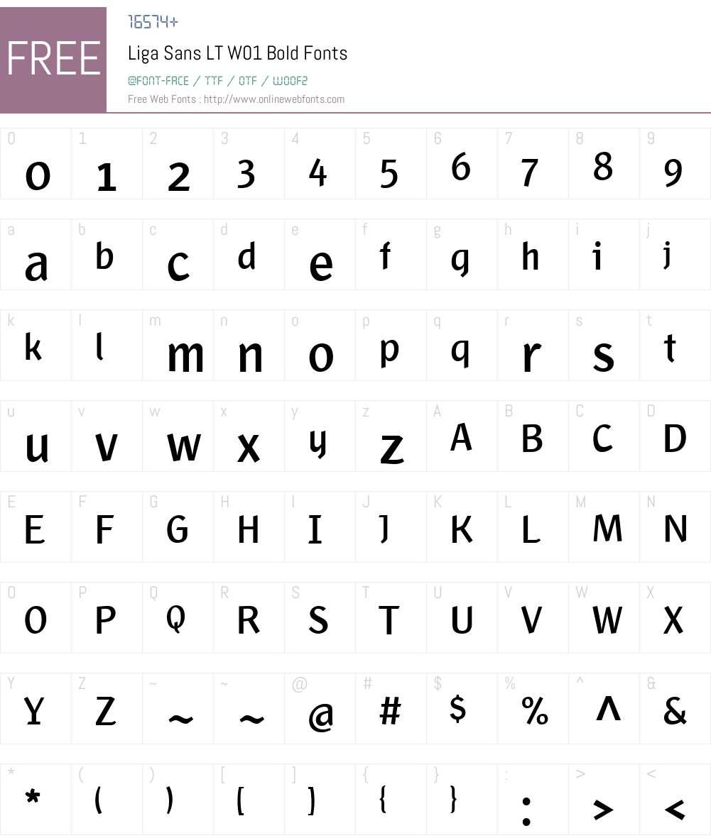 LigaSansLTW01-Bold Font Screenshots