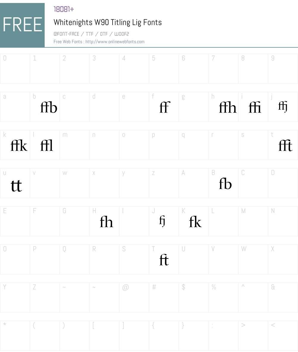WhitenightsW90-TitlingLig Font Screenshots