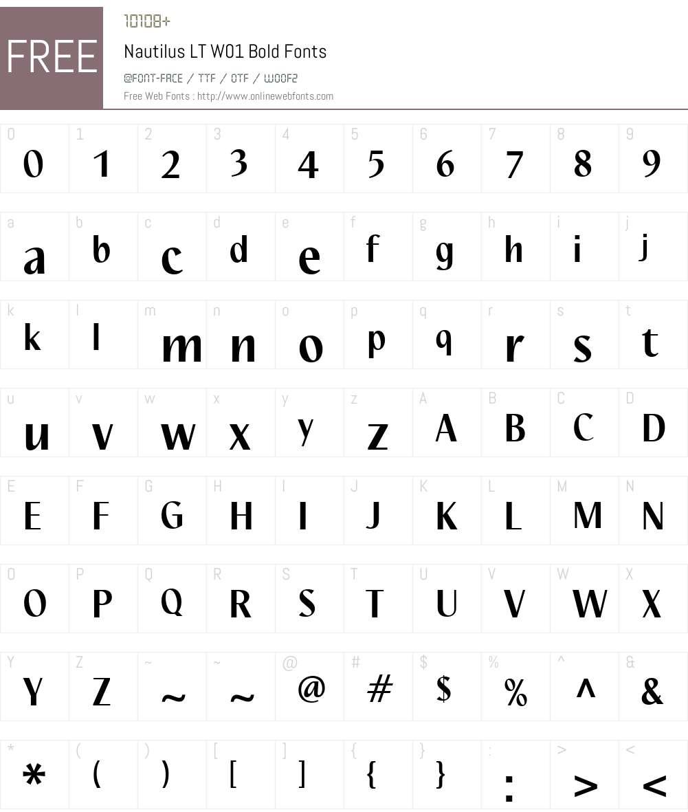 NautilusLTW01-Bold Font Screenshots