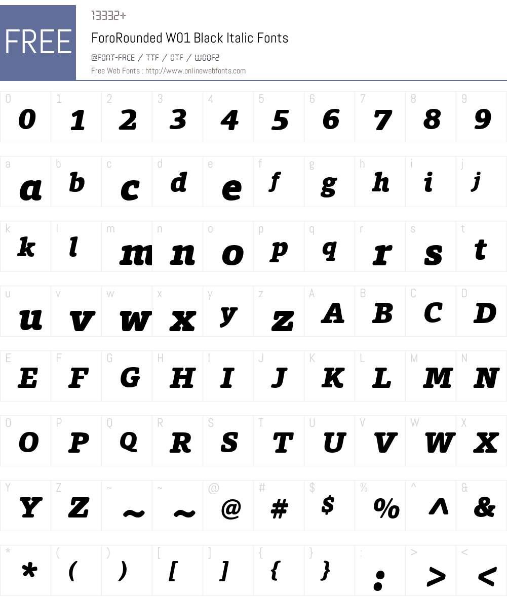 ForoRoundedW01-BlackItalic Font Screenshots
